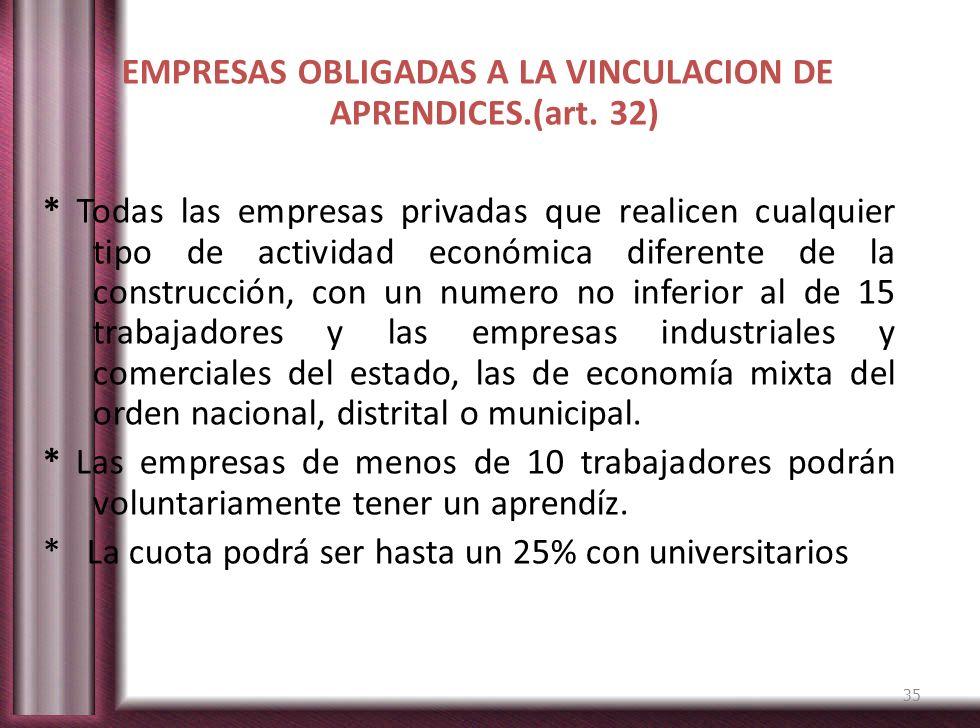 EMPRESAS OBLIGADAS A LA VINCULACION DE APRENDICES. (art. 32)