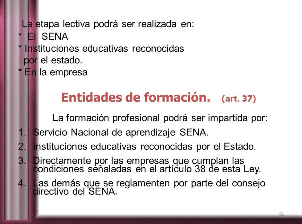Entidades de formación. (art. 37)