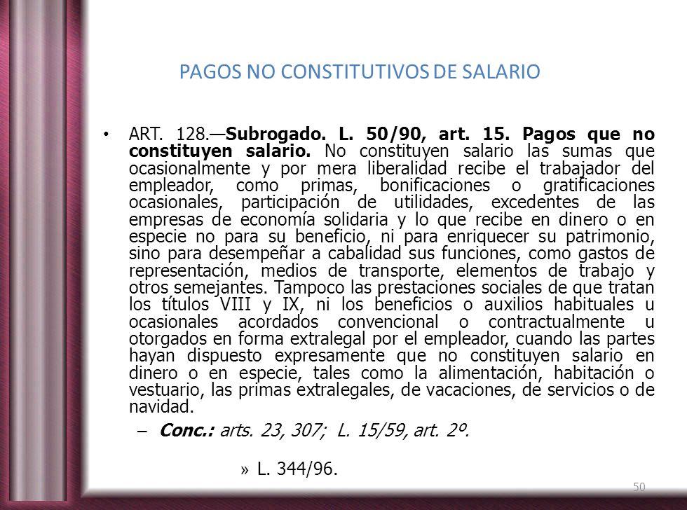 PAGOS NO CONSTITUTIVOS DE SALARIO