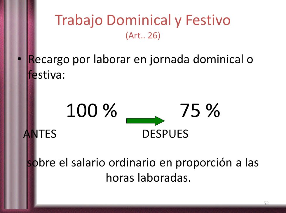 Trabajo Dominical y Festivo (Art.. 26)
