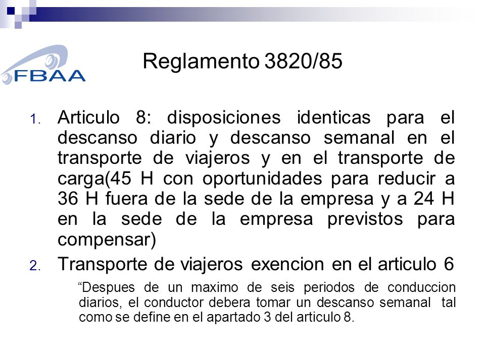 Reglamento 3820/85