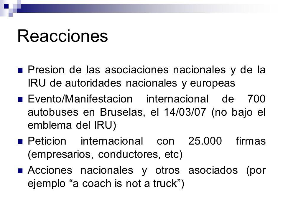 Reacciones Presion de las asociaciones nacionales y de la IRU de autoridades nacionales y europeas.