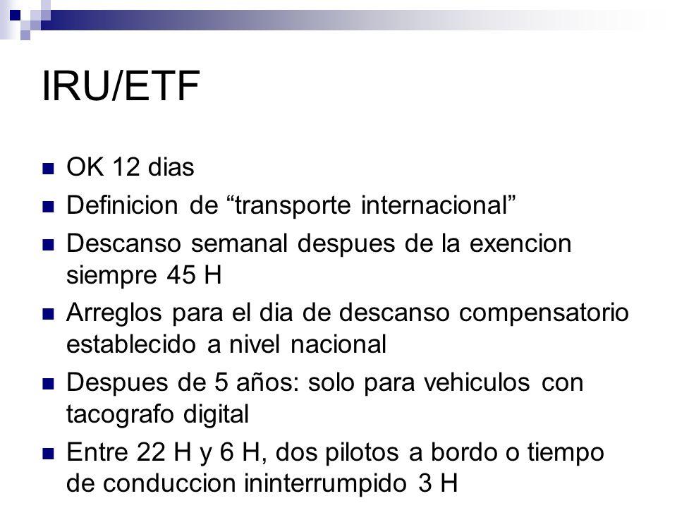 IRU/ETF OK 12 dias Definicion de transporte internacional