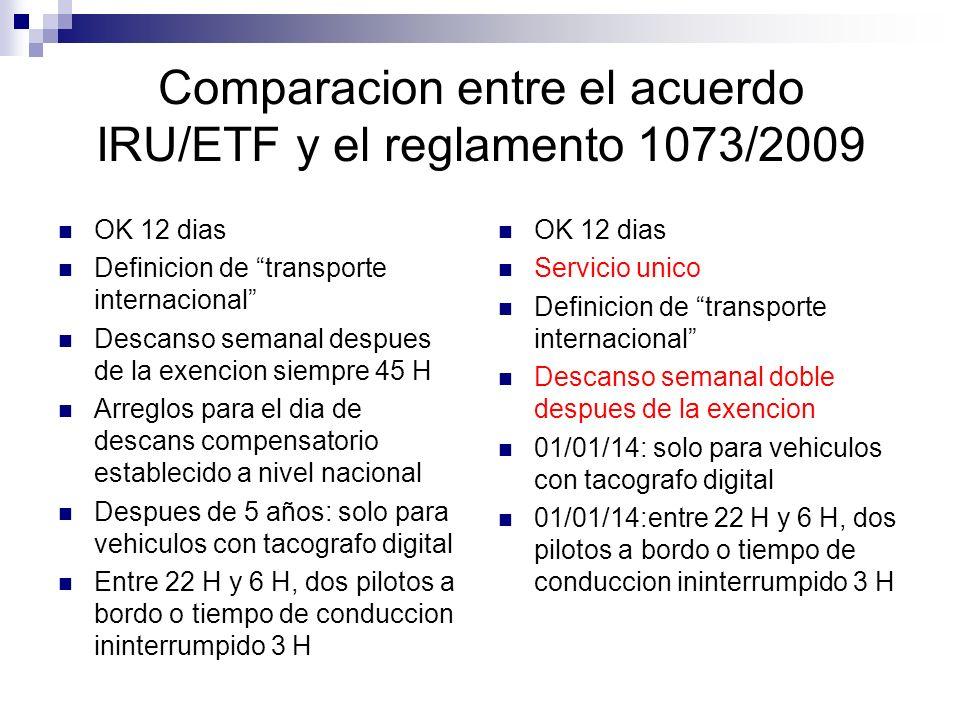 Comparacion entre el acuerdo IRU/ETF y el reglamento 1073/2009