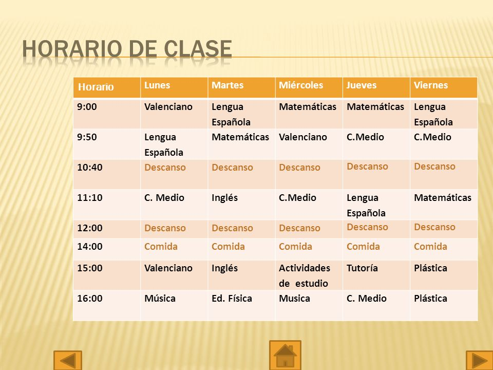 HORARIO DE CLASE Horario Lunes Martes Miércoles Jueves Viernes 9:00