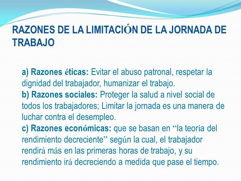 RAZONES DE LA LIMITACIÓN DE LA JORNADA DE TRABAJO