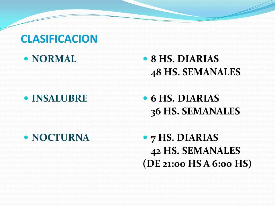 CLASIFICACION NORMAL INSALUBRE NOCTURNA 8 HS. DIARIAS 48 HS. SEMANALES