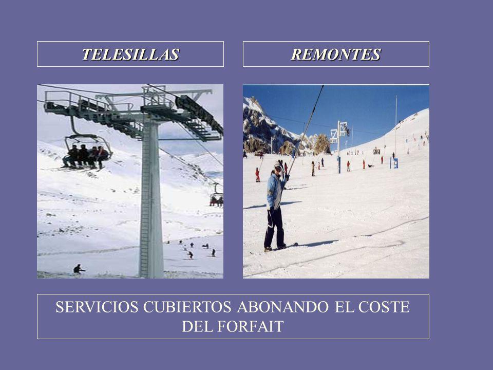 SERVICIOS CUBIERTOS ABONANDO EL COSTE DEL FORFAIT
