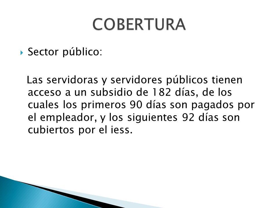 COBERTURA Sector público:
