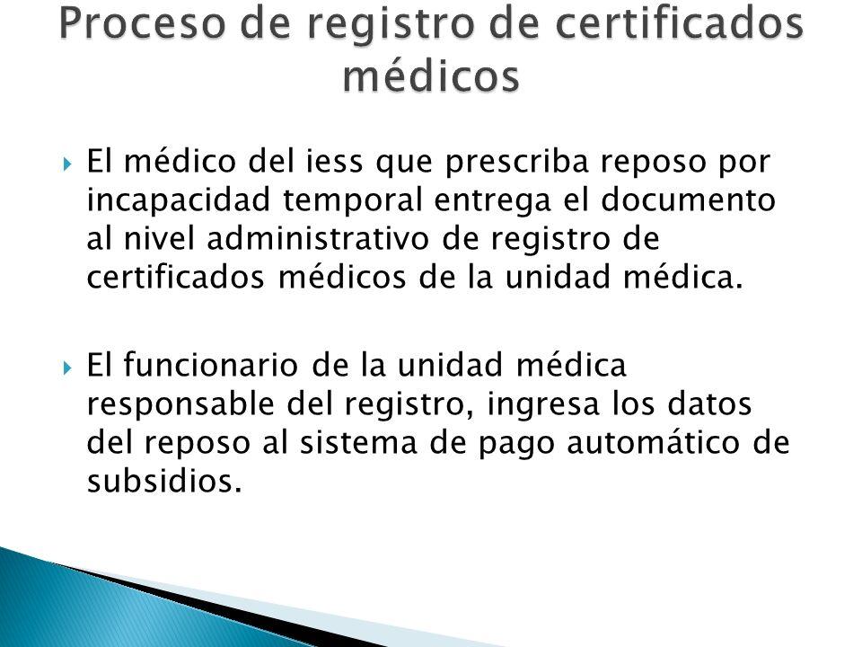 Proceso de registro de certificados médicos