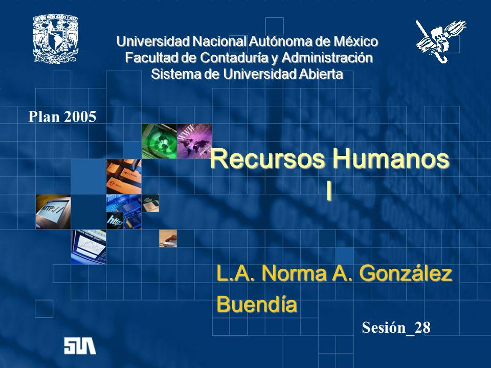 Recursos Humanos I L.A. Norma A. González Buendía Plan 2005 Sesión_28