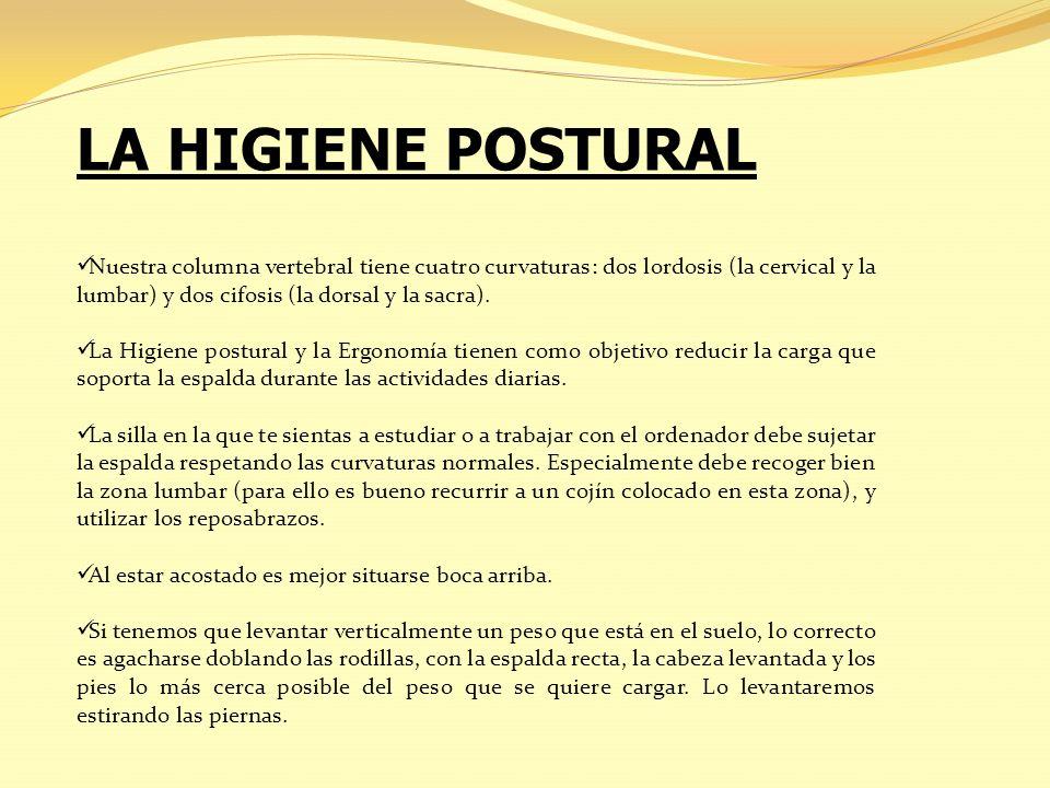 LA HIGIENE POSTURAL Nuestra columna vertebral tiene cuatro curvaturas: dos lordosis (la cervical y la lumbar) y dos cifosis (la dorsal y la sacra).