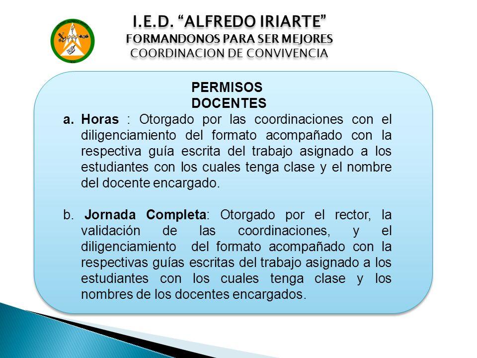 I.E.D. ALFREDO IRIARTE PERMISOS DOCENTES