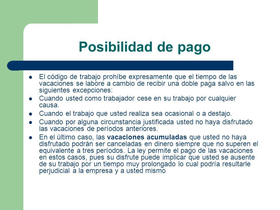 Posibilidad de pago