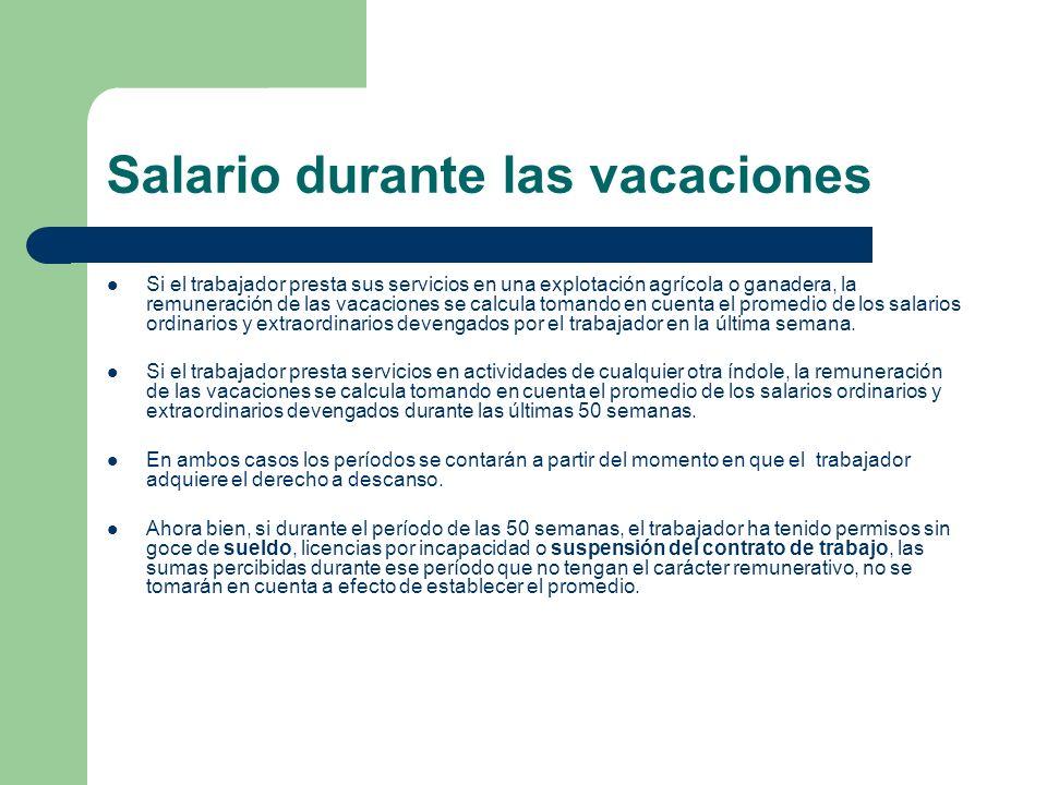 Salario durante las vacaciones