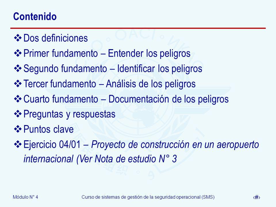 ContenidoDos definiciones. Primer fundamento – Entender los peligros. Segundo fundamento – Identificar los peligros.