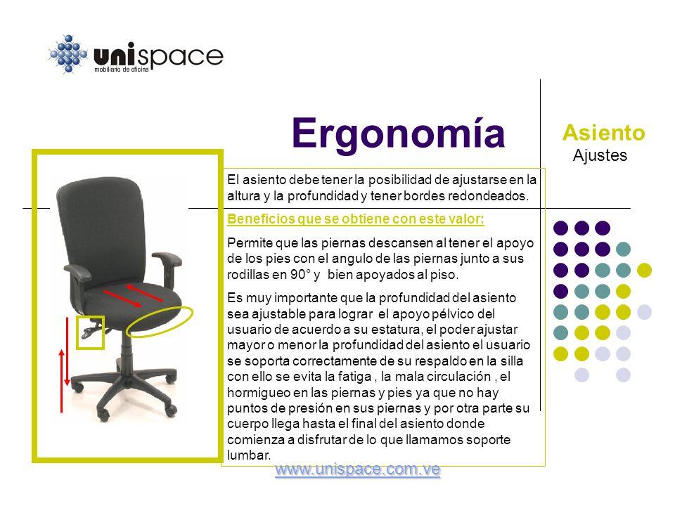 Ergonomía Asiento Ajustes www.unispace.com.ve