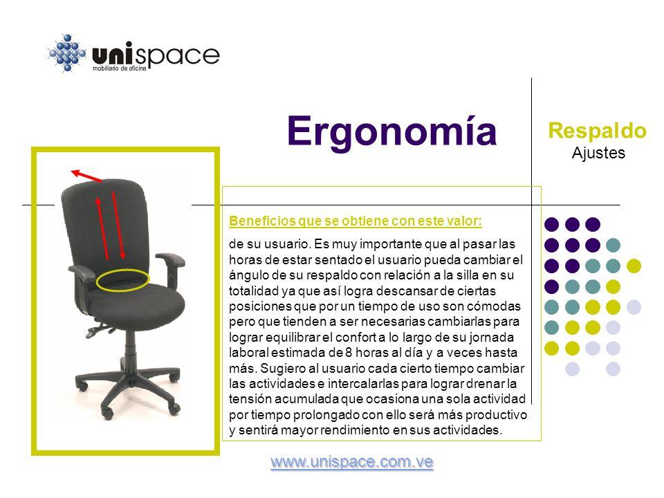 Ergonomía Respaldo Ajustes www.unispace.com.ve