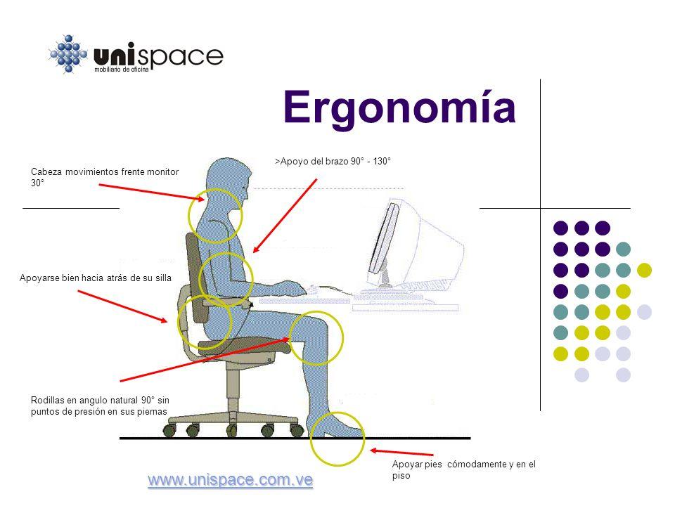 Ergonomía www.unispace.com.ve >Apoyo del brazo 90° - 130°