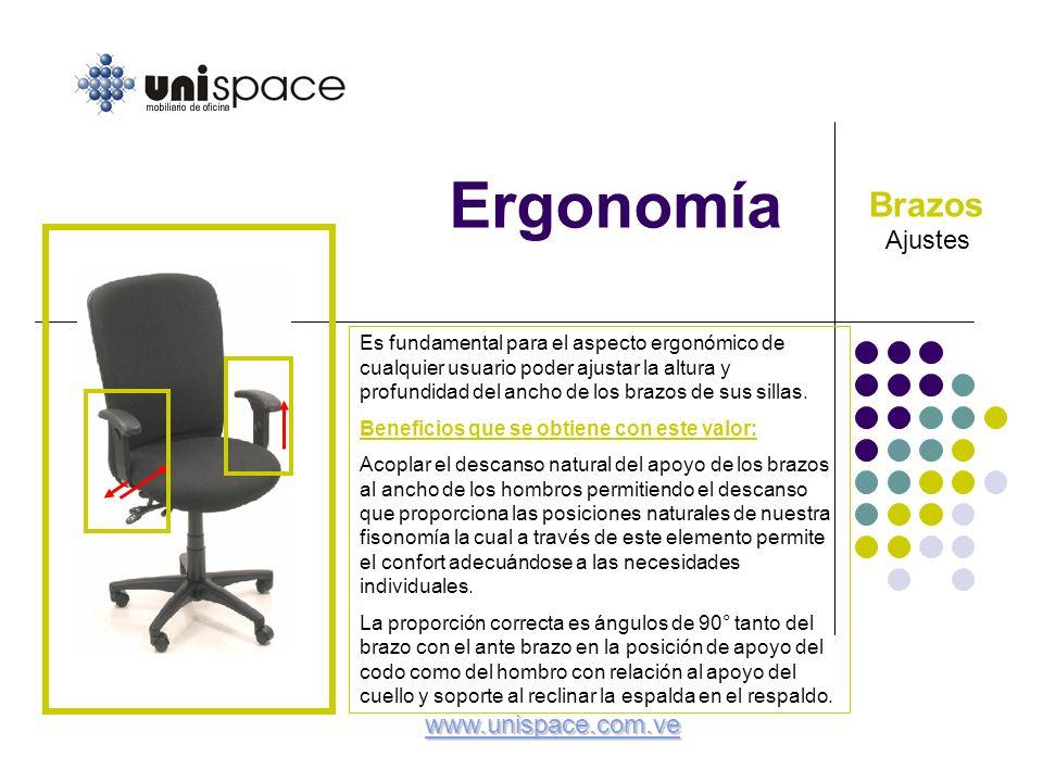 Ergonomía Brazos Ajustes www.unispace.com.ve