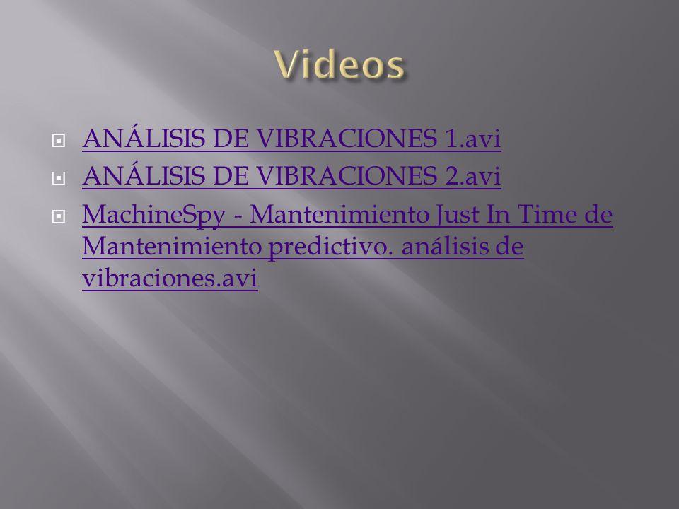 Videos ANÁLISIS DE VIBRACIONES 1.avi ANÁLISIS DE VIBRACIONES 2.avi
