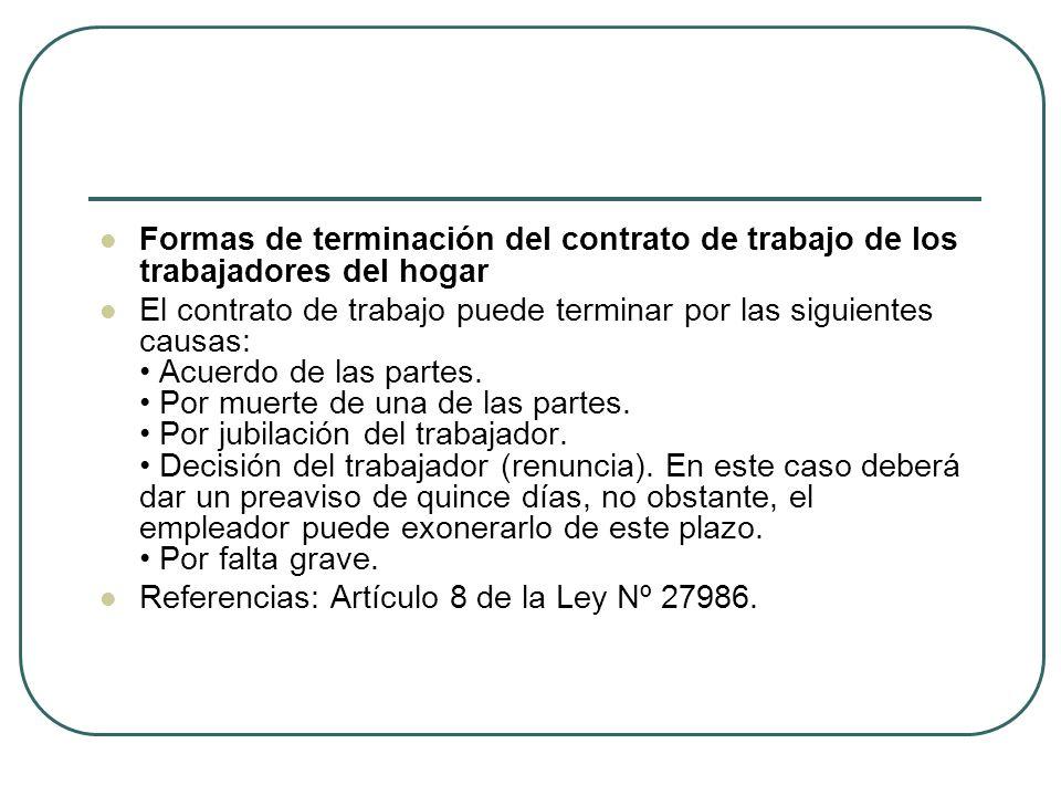 Formas de terminación del contrato de trabajo de los trabajadores del hogar