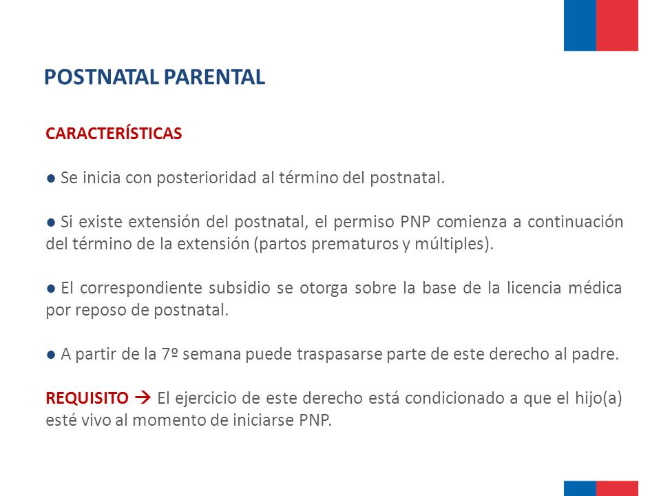 POSTNATAL PARENTAL CARACTERÍSTICAS