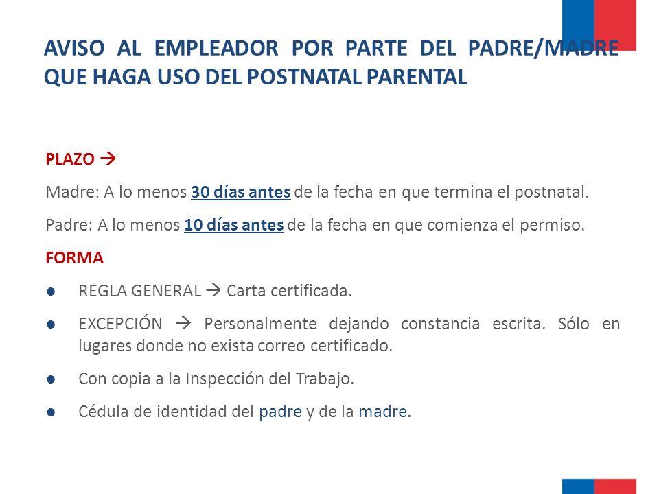 AVISO AL EMPLEADOR POR PARTE DEL PADRE/MADRE QUE HAGA USO DEL POSTNATAL PARENTAL