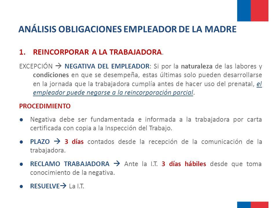 ANÁLISIS OBLIGACIONES EMPLEADOR DE LA MADRE