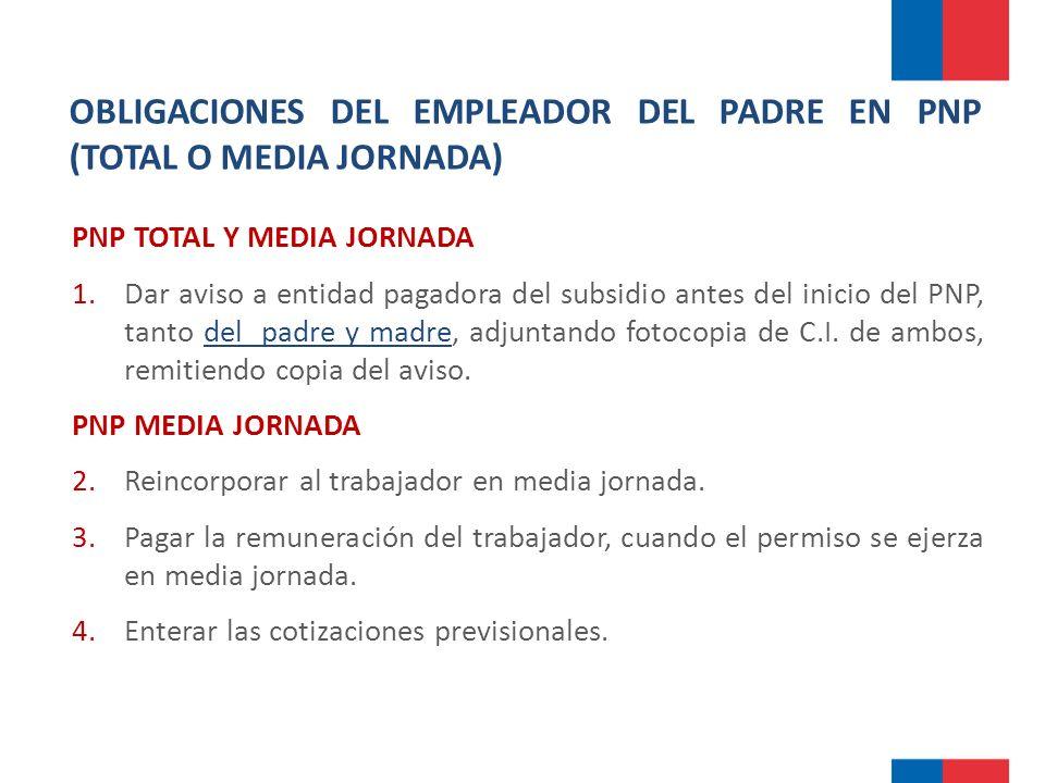 OBLIGACIONES DEL EMPLEADOR DEL PADRE EN PNP (TOTAL O MEDIA JORNADA)