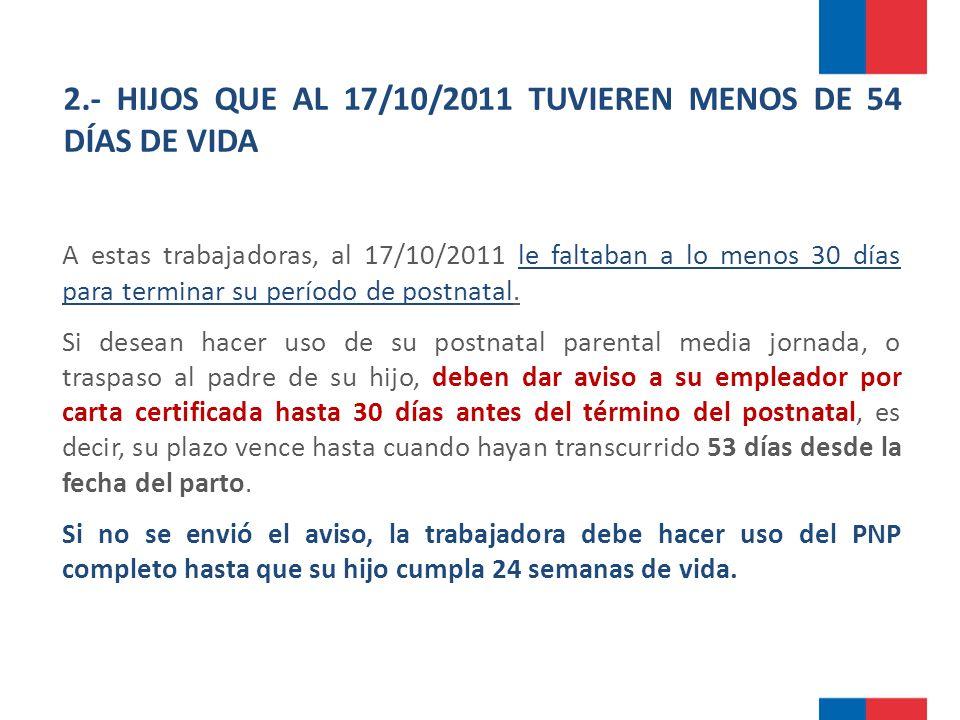 2.- HIJOS QUE AL 17/10/2011 TUVIEREN MENOS DE 54 DÍAS DE VIDA