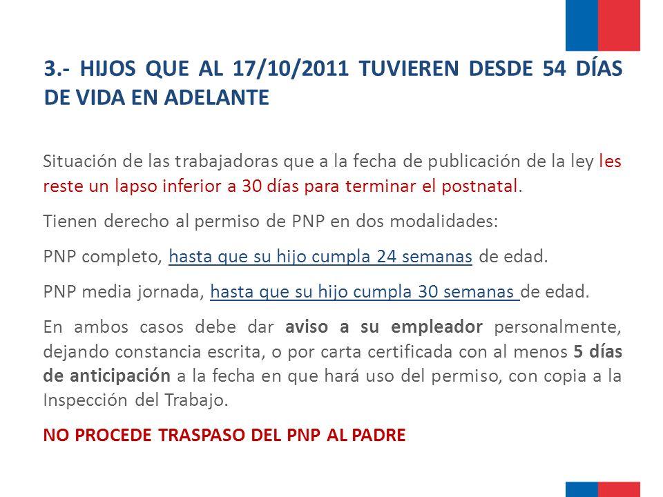 3.- HIJOS QUE AL 17/10/2011 TUVIEREN DESDE 54 DÍAS DE VIDA EN ADELANTE