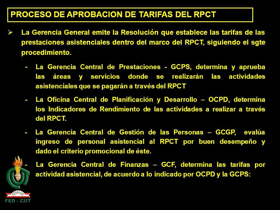 PROCESO DE APROBACION DE TARIFAS DEL RPCT