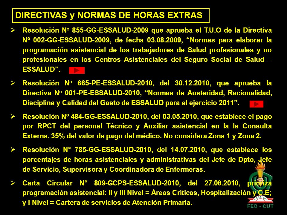 DIRECTIVAS y NORMAS DE HORAS EXTRAS
