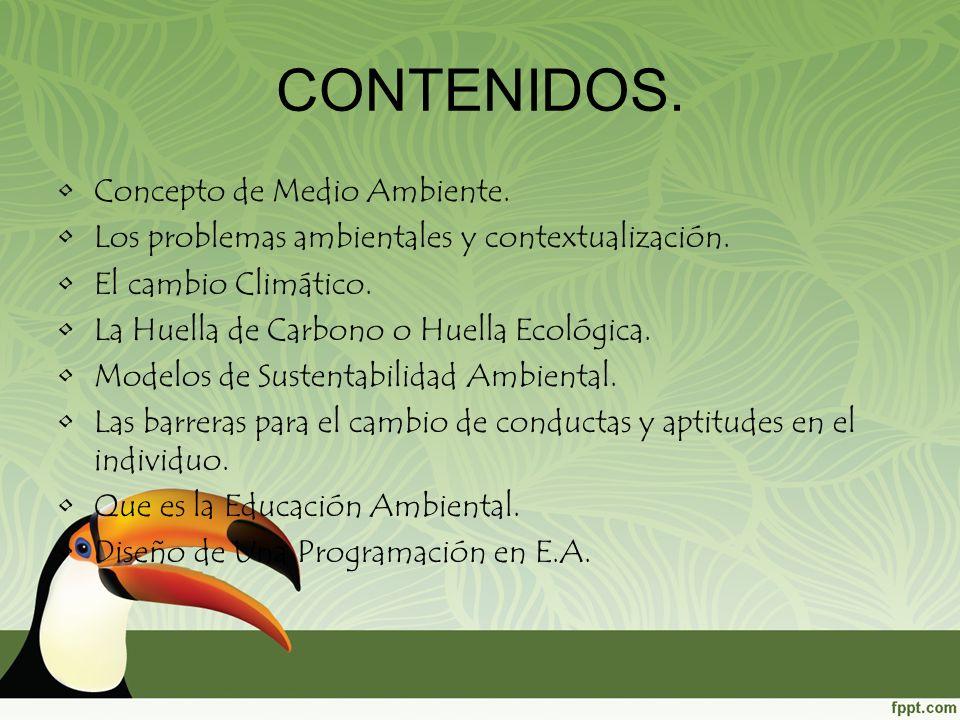 CONTENIDOS. Concepto de Medio Ambiente.