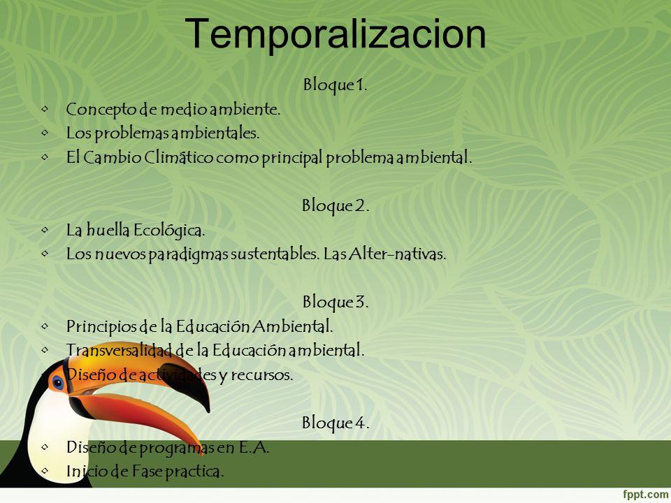 Temporalizacion Bloque 1. Concepto de medio ambiente.