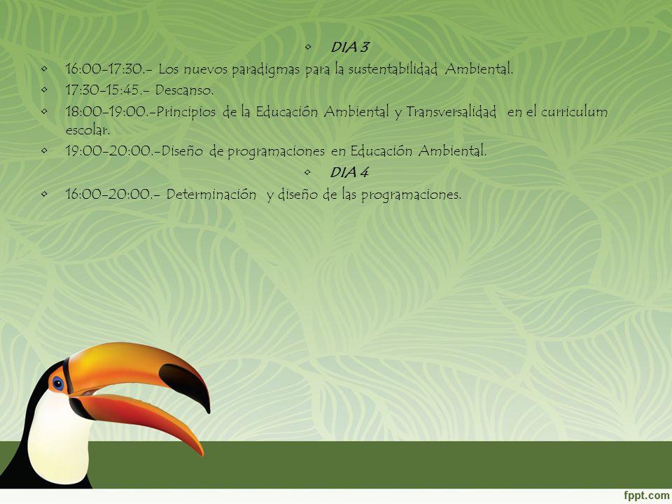 DIA 3 16:00-17:30.- Los nuevos paradigmas para la sustentabilidad Ambiental. 17:30-15:45.- Descanso.