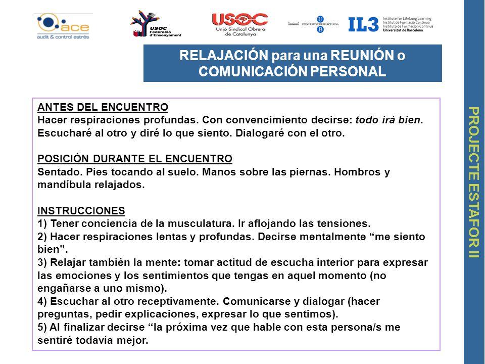 RELAJACIÓN para una REUNIÓN o COMUNICACIÓN PERSONAL