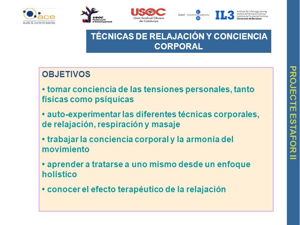 TÉCNICAS DE RELAJACIÓN Y CONCIENCIA CORPORAL