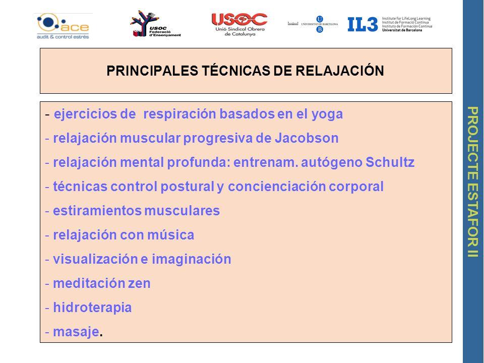 PRINCIPALES TÉCNICAS DE RELAJACIÓN