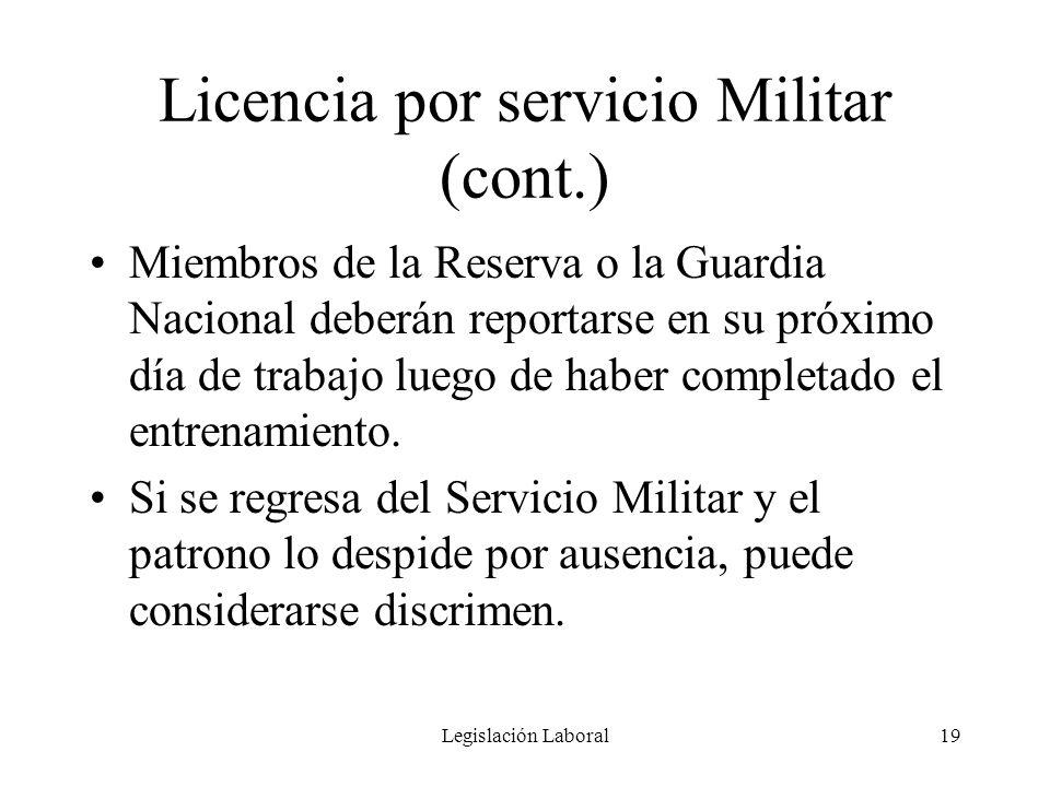 Licencia por servicio Militar (cont.)