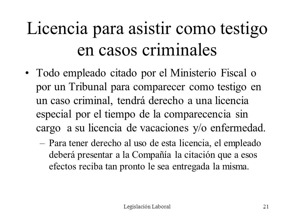 Licencia para asistir como testigo en casos criminales
