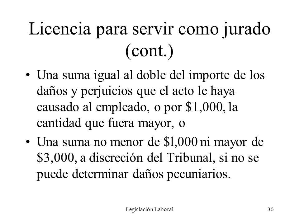 Licencia para servir como jurado (cont.)