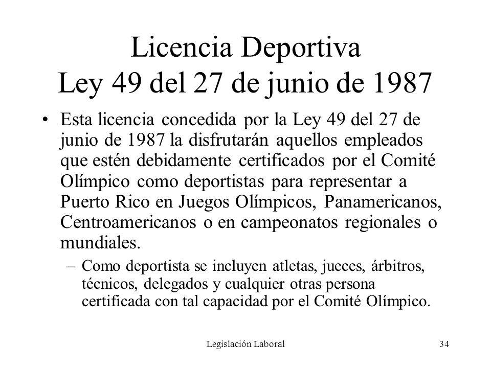Licencia Deportiva Ley 49 del 27 de junio de 1987