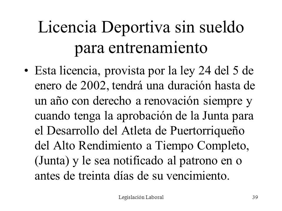 Licencia Deportiva sin sueldo para entrenamiento
