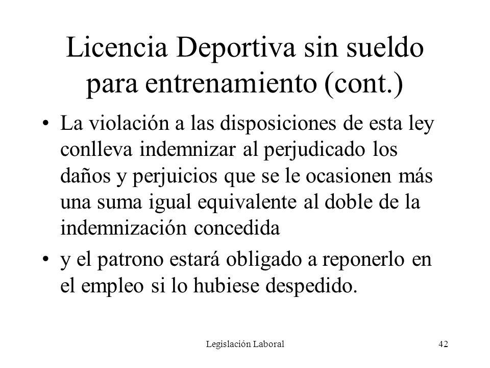 Licencia Deportiva sin sueldo para entrenamiento (cont.)