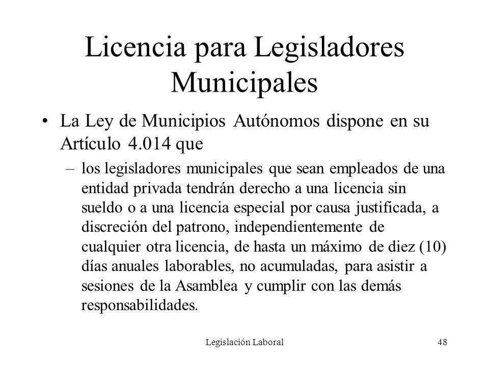 Licencia para Legisladores Municipales