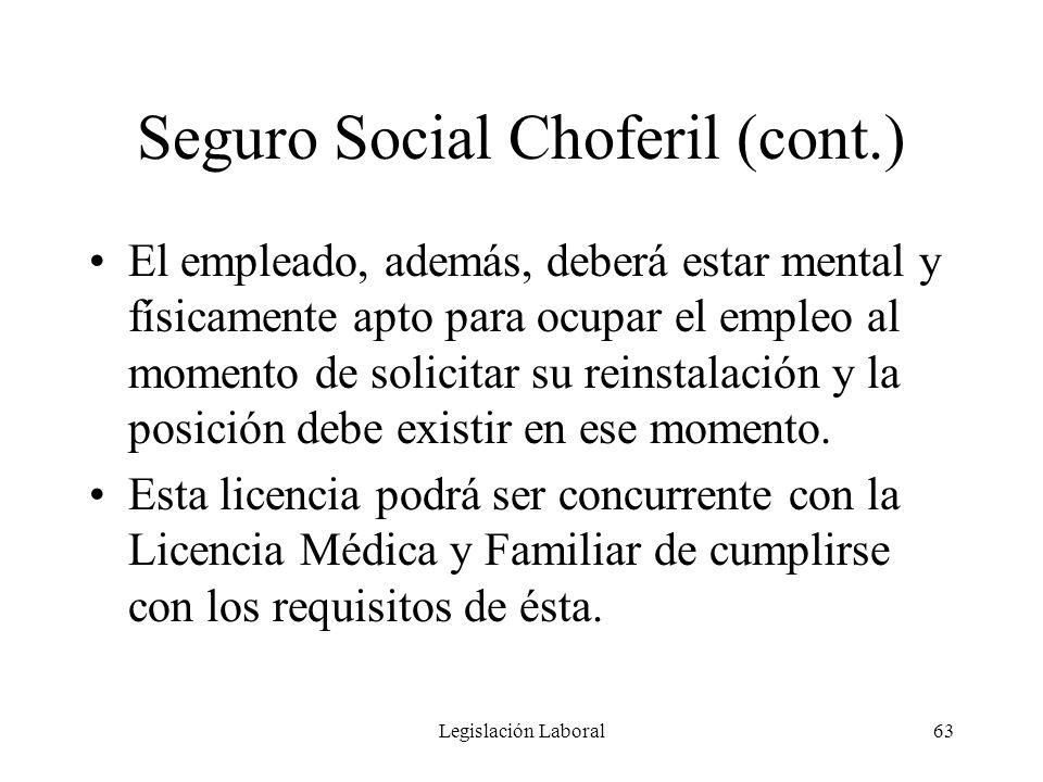 Seguro Social Choferil (cont.)
