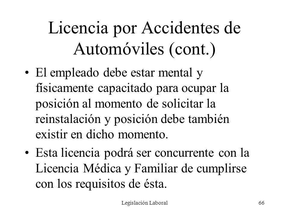 Licencia por Accidentes de Automóviles (cont.)