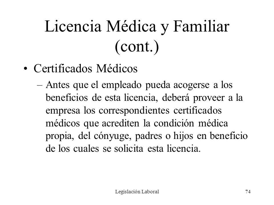 Licencia Médica y Familiar (cont.)